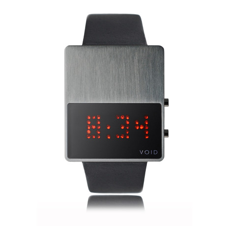 LED Watch // Brushed w/ Black Leather Strap