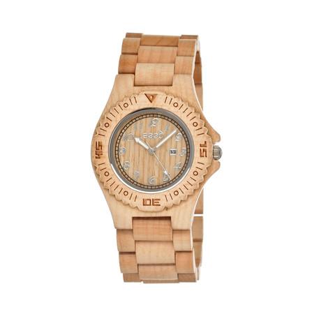 Mens & Ladies Khaki/Tan Phloem Wood Watch
