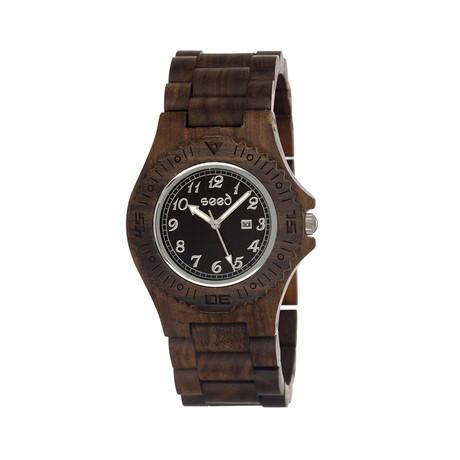 Mens & Ladies Dark Brown Phloem Wood Watch