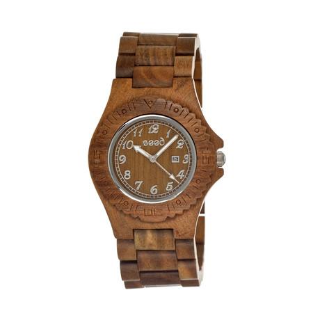 Mens & Ladies Olive Phloem Wood Watch