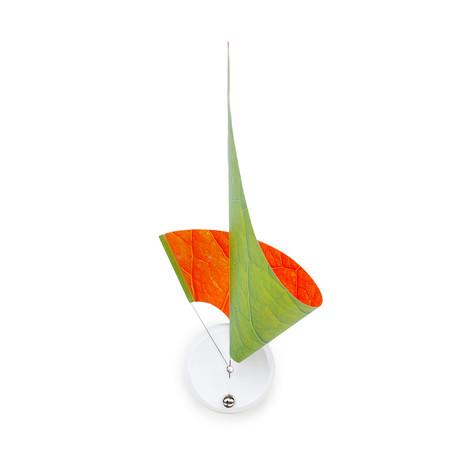 Manifold Clock // Green Orange Leaf 30''