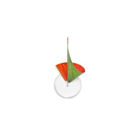 Manifold Clock // Green + Orange Leaf 14''