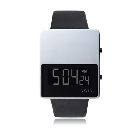 LCD Watch // Polished w/ Black Leather Strap