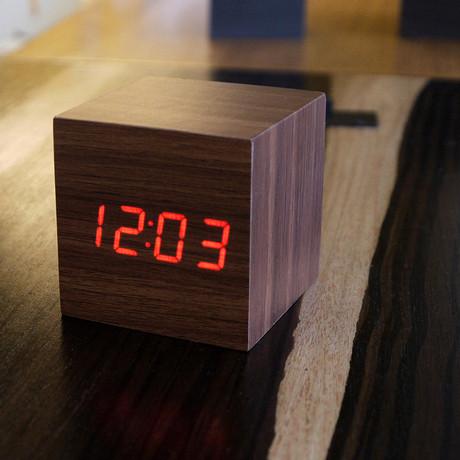 Cube Click Clock // Walnut (Red LED)