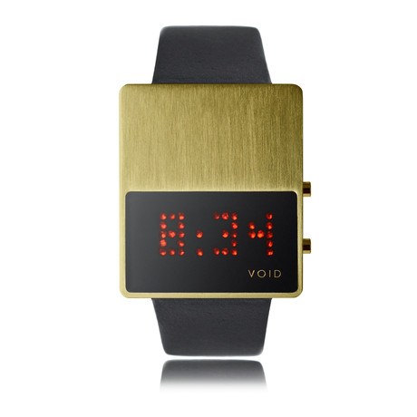 LED Watch // Gold w/ Black Leather Strap
