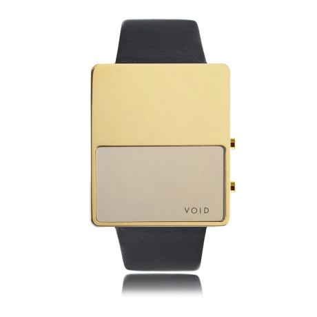 LED Watch // Polished Gold w/ Black Leather Strap