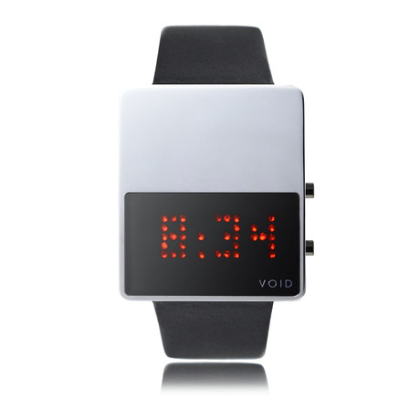 LED Watch // Polished w/ Black Leather Strap