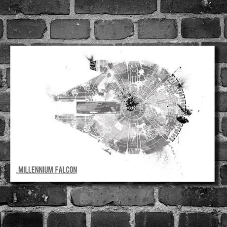 """Star Wars // Harshness // Millennium Falcon (16""""L x 12""""H)"""