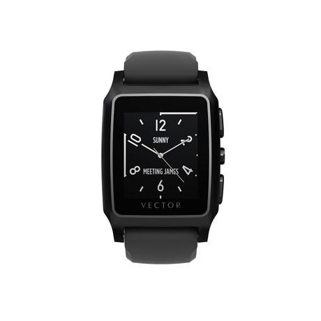 Meridian Performance Digital Smart Watch // Flat Black + Black Silicone Strap