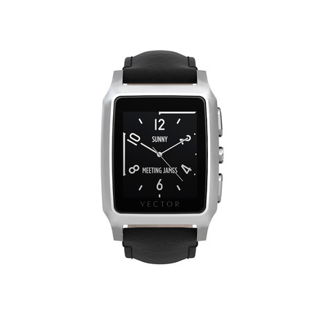 Meridian Contemporary Digital Smart Watch // Steel + Black Leather Strap (Small Fit)