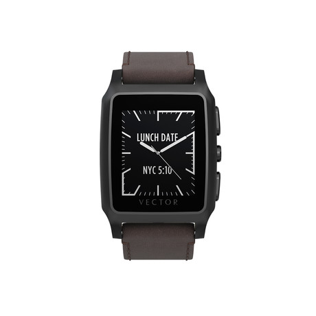 Meridian Contemporary Digital Smart Watch // Brushed Black + Brown Leather Strap (Small Fit)
