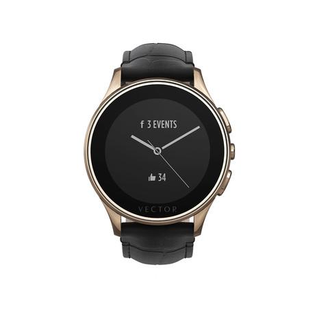 Luna Classic Digital Smart Watch // Rose Gold + Black Croco Strap (Small Fit)
