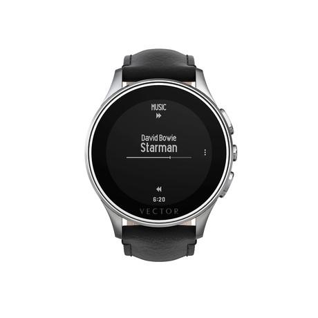 Luna Contemporary Digital Smart Watch // Steel + Black Leather Strap (Regular Fit)