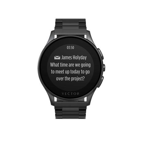 Luna Contemporary Digital Smart Watch // Brushed Black + Black Steel Bracelet