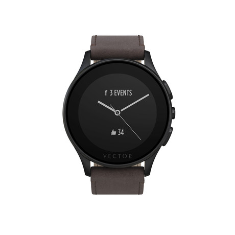 Luna Contemporary Digital Smart Watch // Brushed Black + Brown Leather Strap (Small Fit)