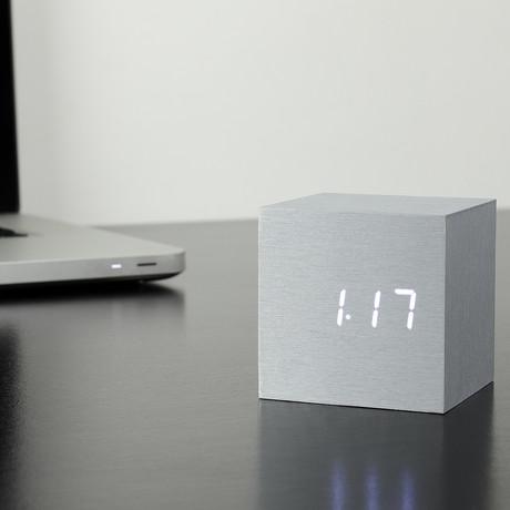 Cube Click Clock // Aluminum (White LED)