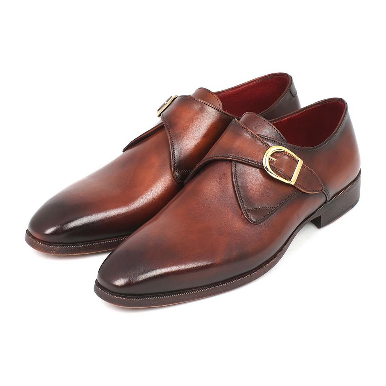 paul parkman monkstrap dress shoe brown camel