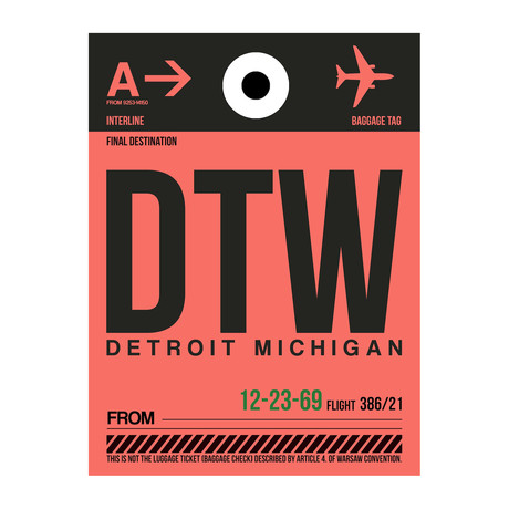 DTW Detroit Luggage Tag