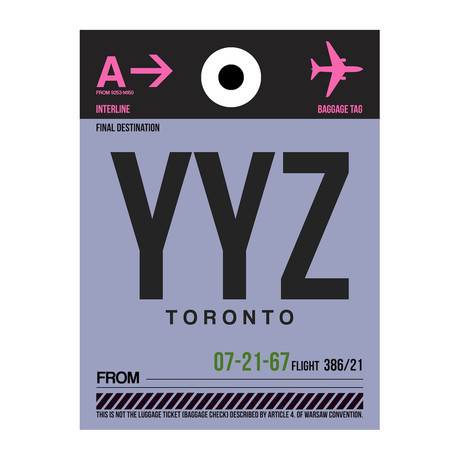 YYZ Toronto Luggage Tag