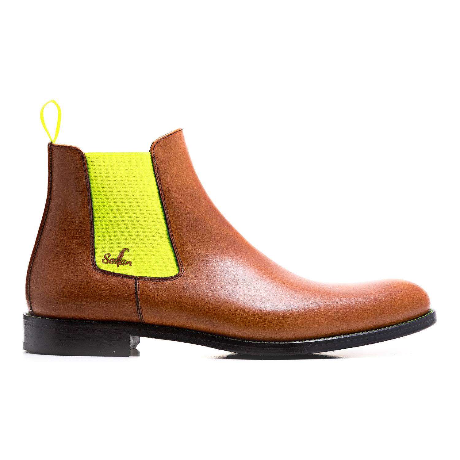 calf leather chelsea boot cognac yellow euro 40. Black Bedroom Furniture Sets. Home Design Ideas
